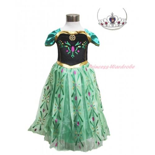 Frozen Anna Green Coronation Dress Up Costume C017