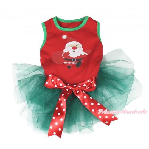 Xmas Red Sleeveless Teal Green Gauze Skirt & Gift Bag Santa Claus Print & Red White Polka Dots Bow Pet Dress DC193