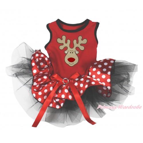 Xmas Red Sleeveless Minnie Polka Dots Black Gauze Skirt & Christmas Reindeer Print & Red Rhinestone Bow Pet Dress DC195