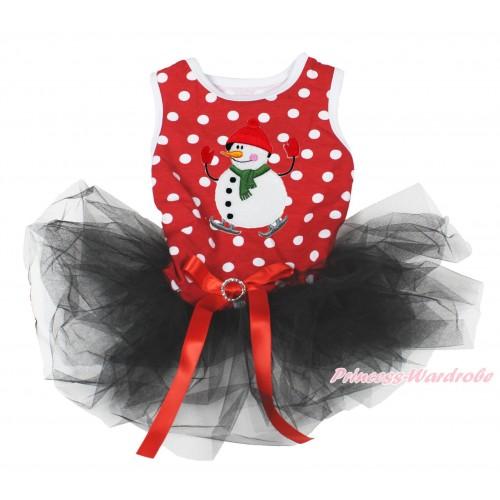 Xmas Minnie Dots Sleeveless Black Gauze Skirt & Ice-Skating Snowman Print & Red Rhinestone Bow Pet Dress DC196