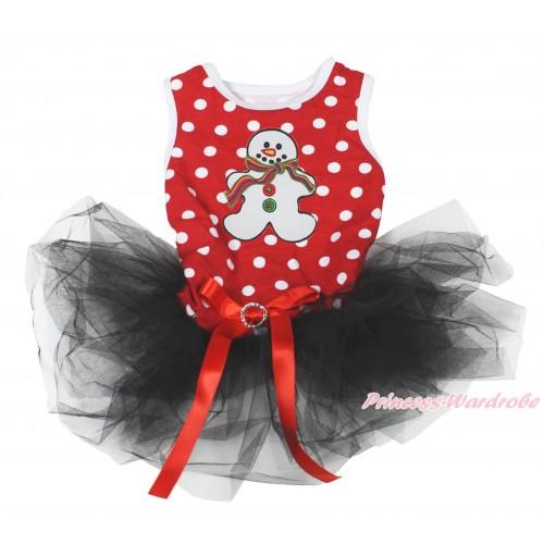 Xmas Minnie Dots Sleeveless Black Gauze Skirt & Christmas Gingerbread Snowman Print & Red Rhinestone Bow Pet Dress DC197