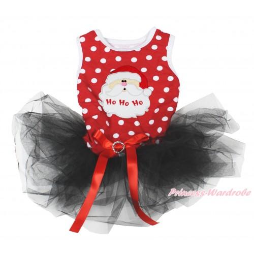 Xmas Minnie Dots Sleeveless Black Gauze Skirt & Santa Claus Print & Red Rhinestone Bow Pet Dress DC198