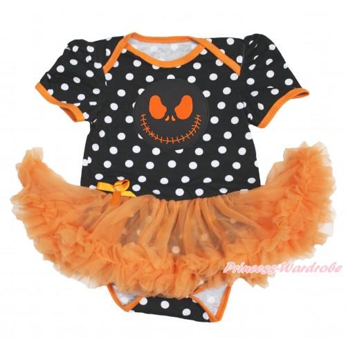 Halloween Black White Dots Baby Bodysuit Orange Pettiskirt & Nightmare Before Christmas Jack JS3974