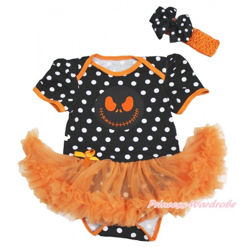 Halloween Black White Dots Baby Bodysuit Orange Pettiskirt & Nightmare Before Christmas Jack & Orange Headband Black White Dots Silk Bow JS3981