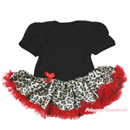 Black Baby Bodysuit Leopard Red Pettiskirt JS4072