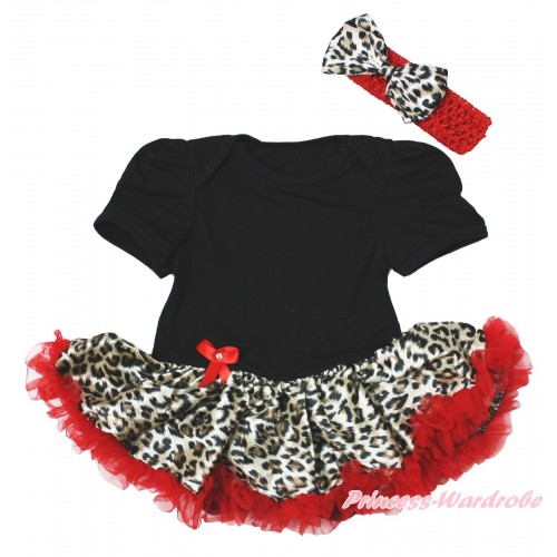 Black Baby Bodysuit Leopard Red Pettiskirt & Red Headband Leopard Satin Bow JS4079