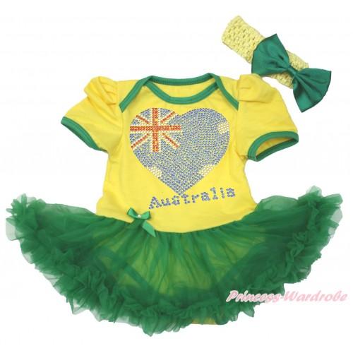 Yellow Baby Bodysuit Kelly Green Pettiskirt & Sparkle Rhinestone Australia Heart Print JS4268