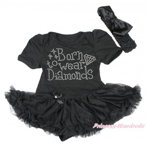 Black Baby Bodysuit Pettiskirt & Sparkle Rhinestone Born To Wear Diamonds Print JS4269