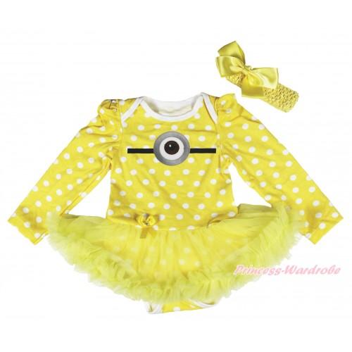 Yellow White Dots Long Sleeve Bodysuit Yellow Pettiskirt & Minion Print JS4271