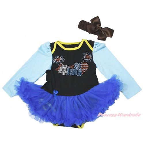 4th July Light Blue Long Sleeve Black Bodysuit Royal Blue Pettiskirt & Sparkle Rhinestone 4th July Patriotic American Heart Print JS4274