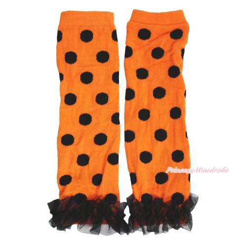 Halloween Newborn Baby Orange Black Dots Leg Warmers Leggings & Black Ruffles LG283