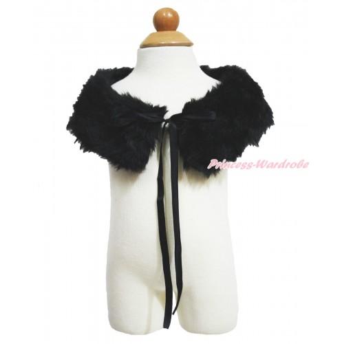 Black Soft Fur Stole Shawl Shrug Wrap Cape Wedding Flower Girl Shawl Coat SH88
