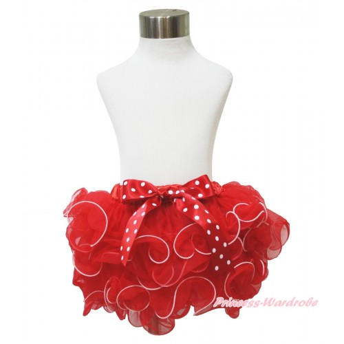Hot Red Flower Petal Full Pettiskirt & Minnie Dots Bow B274