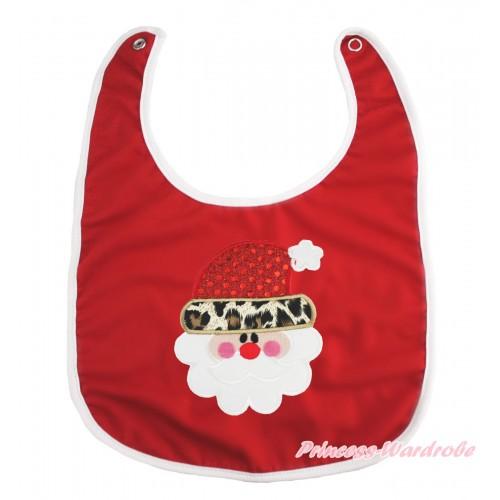 Xmas Hot Red Baby Bib & Leopard Santa Claus Print BI18