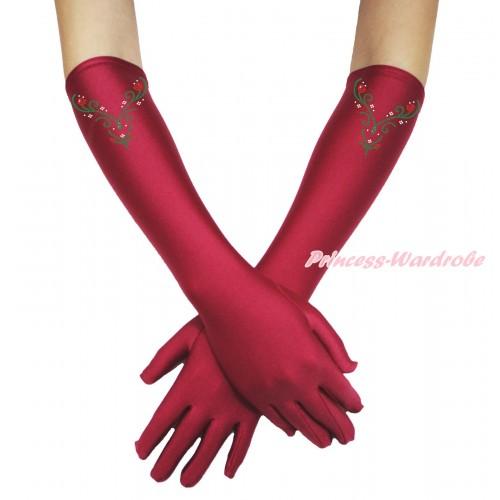 Frozen Sparkle Bling Rhinestone Princess Anna Raspberry Wine Red Elbow Length Gloves C375