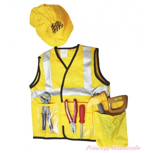 Construction Worker Engineer Yellow Party Costume 7PC Set C378