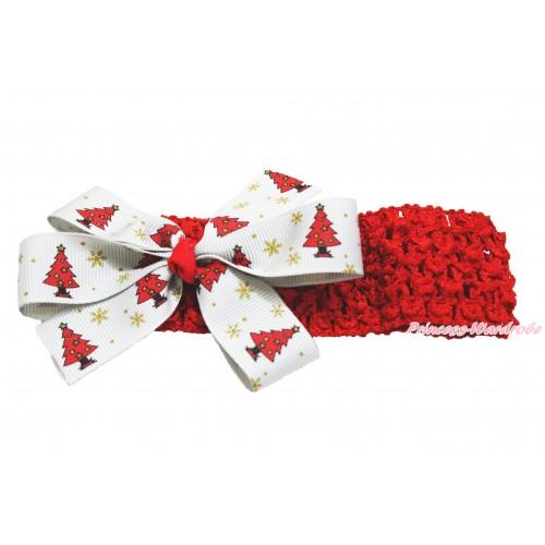 Xmas Red Headband & Christmas Tree White Ribbon Bow Hair Clip H922