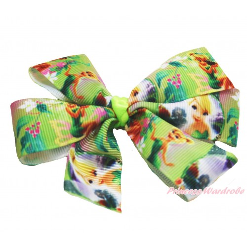 Tinker Bell Green Ribbon Bow Hair Clip H963