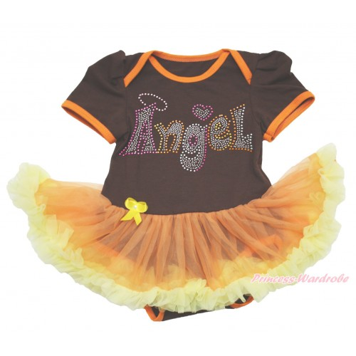 Brown Baby Bodysuit Orange Yellow Pettiskirt & Sparkle Rhinestone Angel Print JS4011