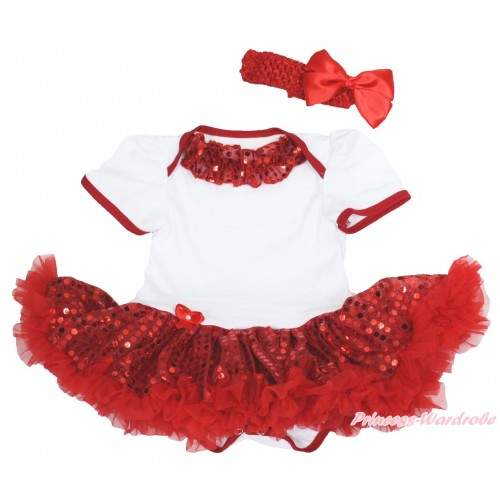 Xmas White Baby Bodysuit Sparkle Red Sequins Pettiskirt & Red Sequins Lacing & Red Headband Silk Bow JS4153
