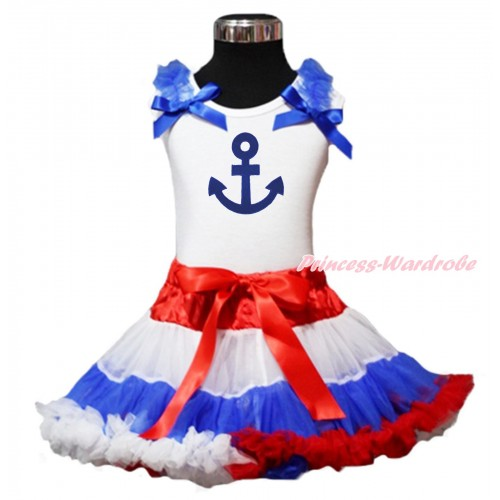 White Tank Top Royal Blue Ruffles & Bow & Royal Blue Anchor Print & Red White Blue Pettiskirt MG1399