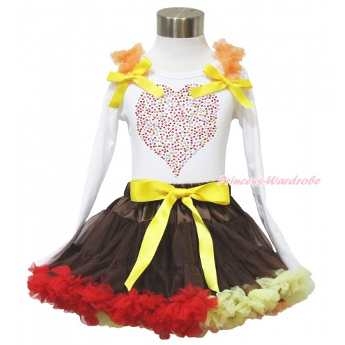 Valentine's Day White Long Sleeve Top Orange Ruffles Yellow Bow & Sparkle Rhinestone Rainbow Heart & Brown Red Yellow Pettiskirt MW567