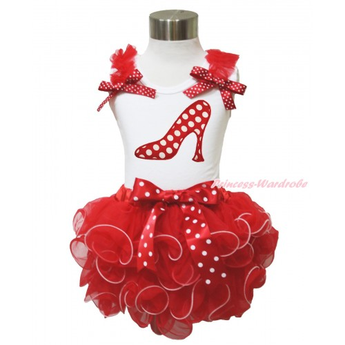 White Baby Pettitop Red Ruffles Minnie Dots Bow & Minnie Dots High Heel Shoes & Minnie Dots Bow Red Petal Newborn Pettiskirt NN235