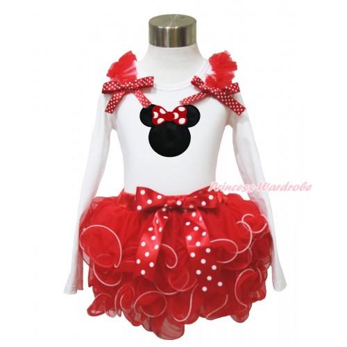 White Baby Long Sleeves Top Red Ruffles Minnie Dots Bow & Red Minnie Print & Minnie Dots Bow Red Petal Baby Pettiskirt NQ43