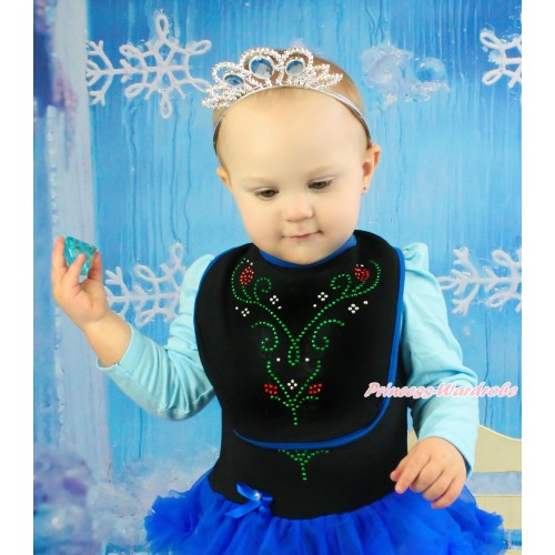 Frozen Royal Blue Piping Black Baby Bib & Sparkle Rhinestone Princess Anna Print BI25