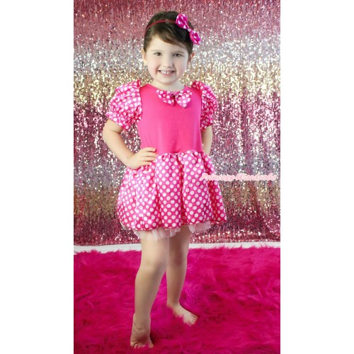 Hot Pink White Minnie Dots Bubble Sleeves Princess Dress & Hot Pink White Dots Satin Bow Party Costume C383