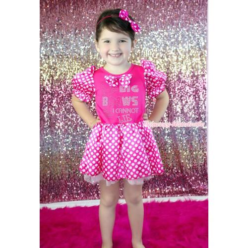 Hot Pink White Minnie Dots Bubble Sleeves Pink Princess Dress Party Costume & Hot Pink White Dots Satin Bow & Sparkle Rjonestone I Like Big Bows Print C385
