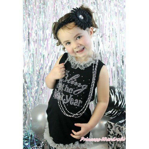 Black One-Piece Pettidress Grey Chiffon Lacing & Sparkle Rhinestone Bling In The New Year Print & Grey Ruffles CD027
