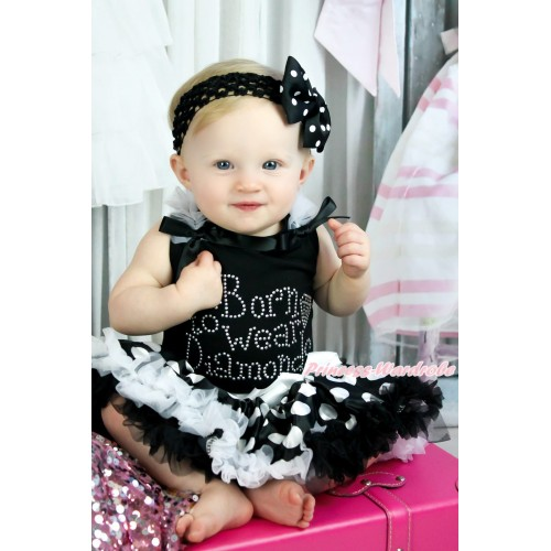 Black Tank Top White Ruffles Black Bows & Sparkle Rhinestoen Born To Wear Diamonds & Black White Giant Dots Pettiskirt MG1401