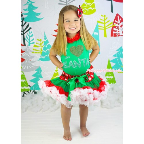 Xmas Kelly Green Tank Top Red Chiffon Lacing & Sparkle Rhinestone I Love Santa Print & Red White Green Dots Pettiskirt MH270