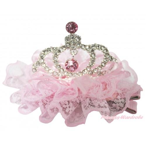 Light Pink Lace Ruffles Rinestone Crystal Crown Hair Clip H782