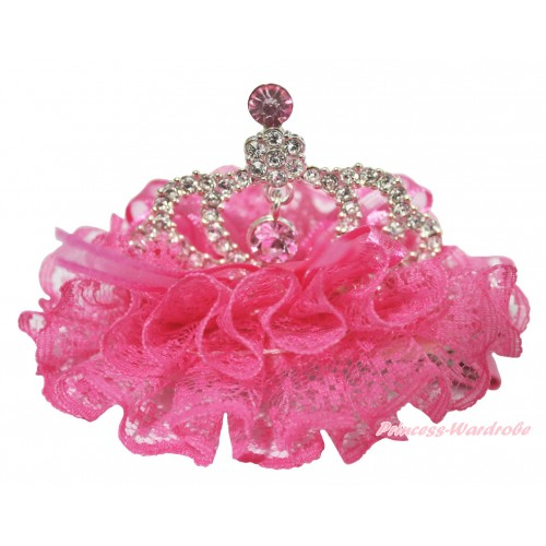 Hot Pink Lace Ruffles Rinestone Crystal Crown Hair Clip H783