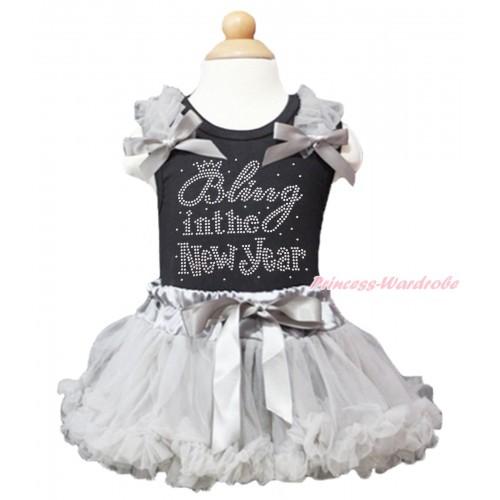 Black Baby Pettitop Grey Ruffles & Bows & Sparkle Rhinestone Bling In The New Year & Grey Newborn Pettiskirt NG1614