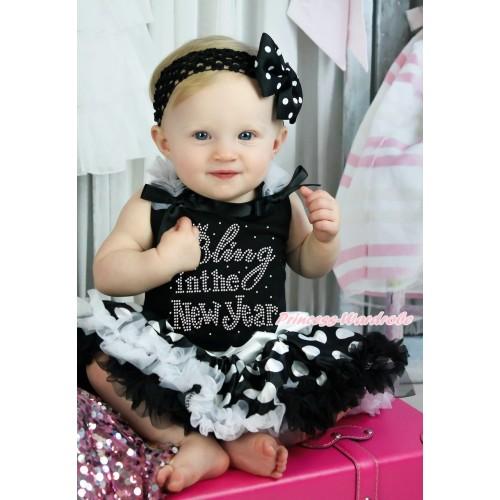 Black Baby Pettitop White Ruffles Black Bow & Sparkle Rhinestone Bling In The New Year Print & Black White Giant Dots Newborn Pettiskirt NG1617