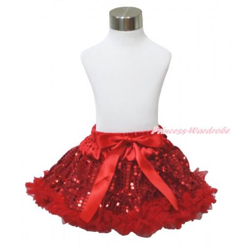Sparkle Red Sequins Full Pettiskirt P195