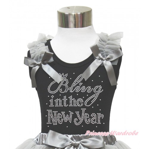 Black Tank Top Grey Ruffles & Bow & Sparkle Rhinestone Bling In The New Year Print TB974