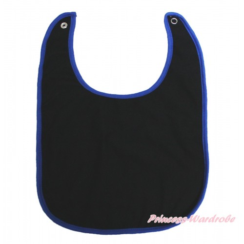 Plain Style Royal Blue Piping Black Newborn Baby Bib BI27