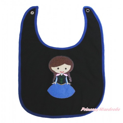 Frozen Royal Blue Piping Black Baby Bib & Princess Anna Print BI34