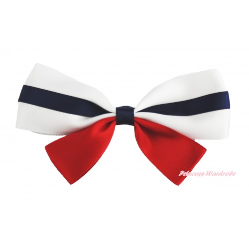 4th July Patriotic Day White Royal Blue & Red Ribbon Bow Hair Clip H974