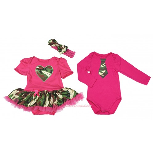 Hot Pink Bodysuit Camouflage Hot Pink Pettiskirt & Camouflage Heart & Hot Pink Headband Camouflage Satin Bow Match Hot Pink Long Sleeve Jumpsuit & Camouflage Tie JS4223