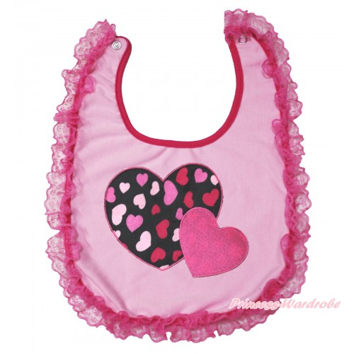 Valentine's Day Hot Pink Lace Light Pink Baby Bib & Hot Pink Sweet Twin Heart Print BI07