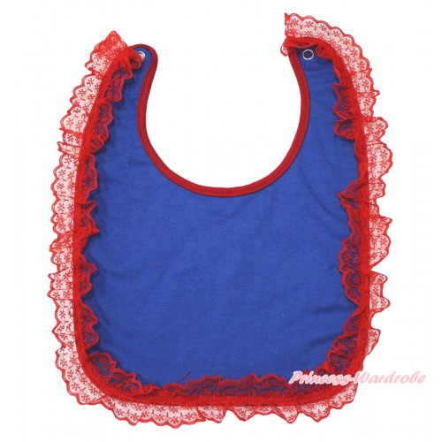 Hot Red Lace Royal Blue Newborn Baby Bib BI08