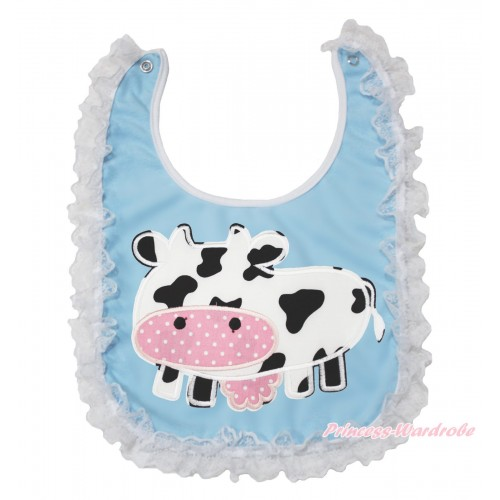 White Lace Light Blue Baby Bib & Milk Cow Print BI12