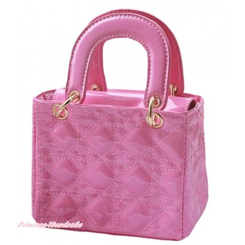 Lovely Ring Square Light Pink Checked Cute Handbag Petti Bag Purse CB180