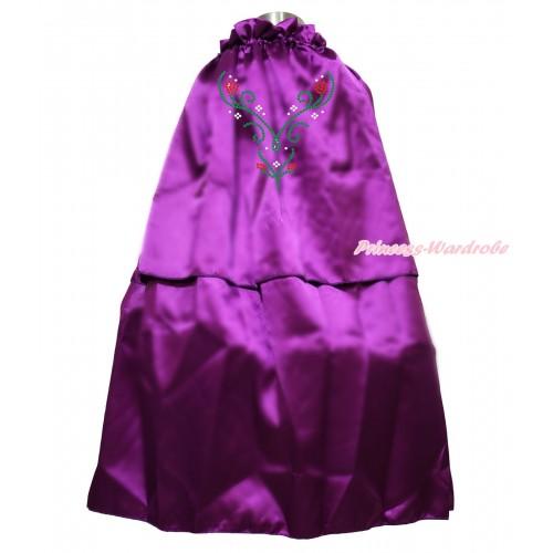 Frozen Dark Purple Sparkle Rhinestone Princess Anna Satin Cape Coat Costume SH87