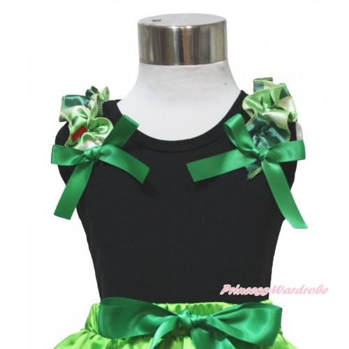 Frozen  Black Tank Top Anna Coronation Ruffles Kelly Green Bow TB989